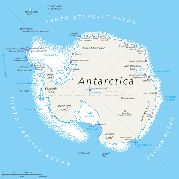 Antarctica Political Map Stock photo © PeterHermesFurian