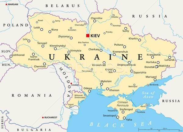 Ukraine Political Map Stock photo © PeterHermesFurian