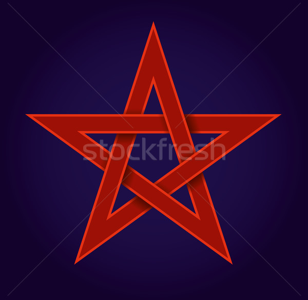 Red Pentagram On Blue Background Stock photo © PeterHermesFurian
