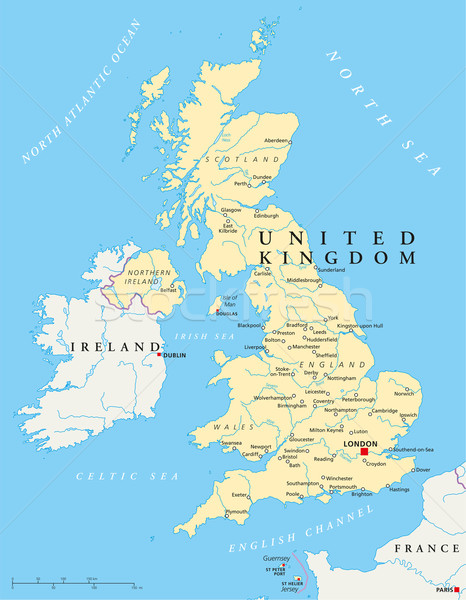 United Kingdom Political Map Stock photo © PeterHermesFurian