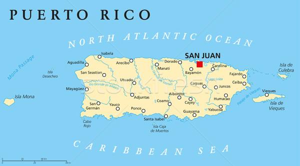 Пуэрто-Рико политический карта Сан-Хуан Соединенные Штаты Сток-фото © PeterHermesFurian