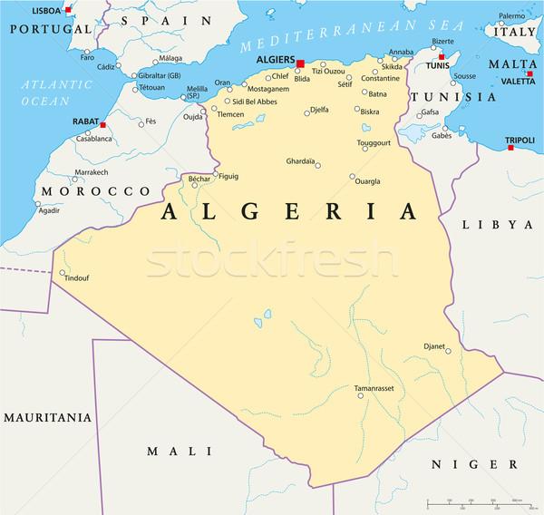 Algéria politikai térkép keretek fontos városok Stock fotó © PeterHermesFurian