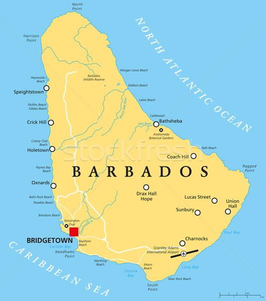 Barbados político mapa importante cidades Foto stock © PeterHermesFurian