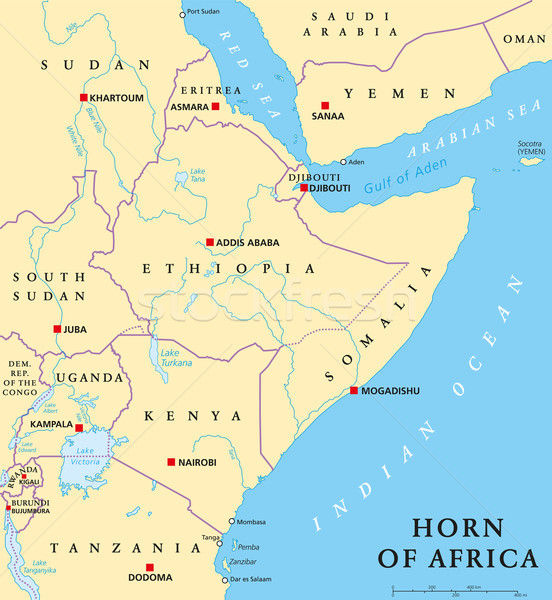 Horn of Africa Political Map Stock photo © PeterHermesFurian