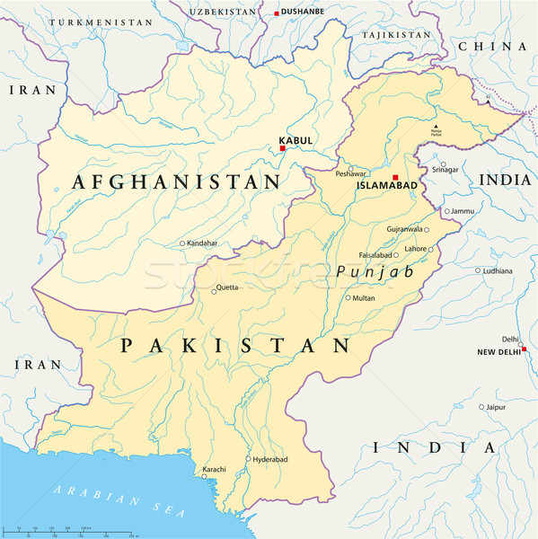 Afganisztán Pakisztán politikai térkép keretek fontos Stock fotó © PeterHermesFurian