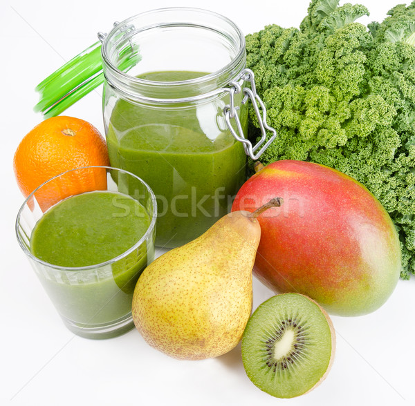 Green Smoothie With Fresh Kale And Fruits Stock photo © PeterHermesFurian