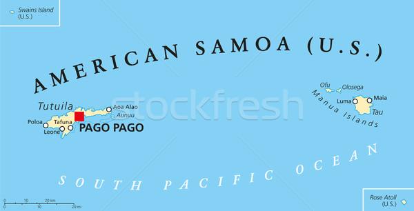 Amerikai Szamoa politikai térkép Egyesült Államok terület szigetek Stock fotó © PeterHermesFurian