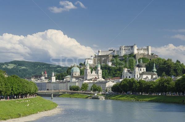 Salzburg City Historic Center Panorama View Stock photo © PeterHermesFurian