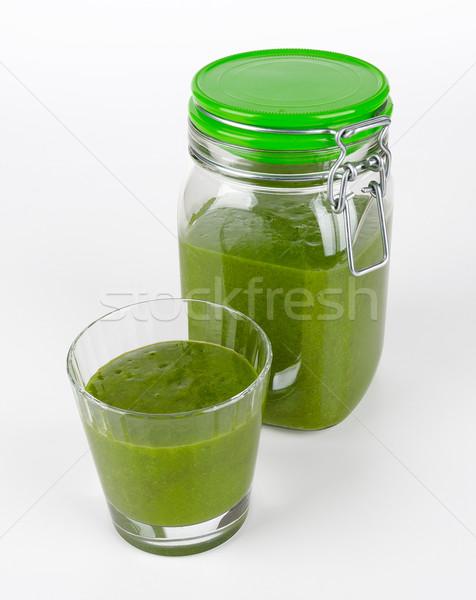 グリーンスムージー ガラス jarファイル オーガニック ほうれん草 果物 ストックフォト © PeterHermesFurian