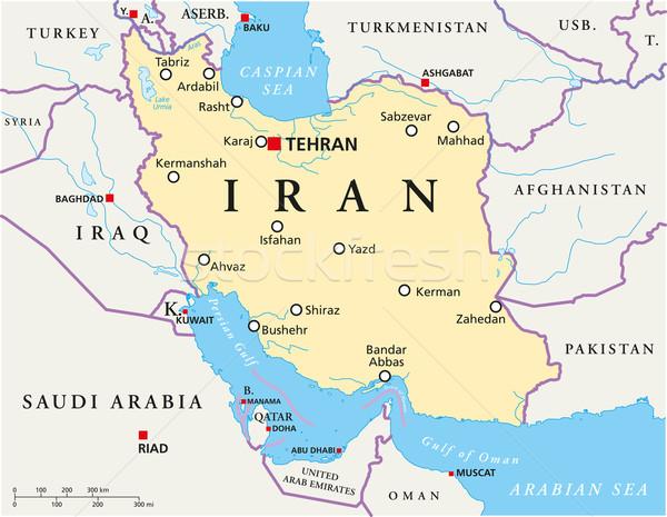 İran siyasi harita Tahran önemli Stok fotoğraf © PeterHermesFurian