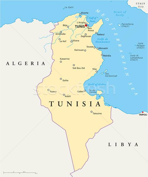 Tunísia político mapa Tunis importante Foto stock © PeterHermesFurian