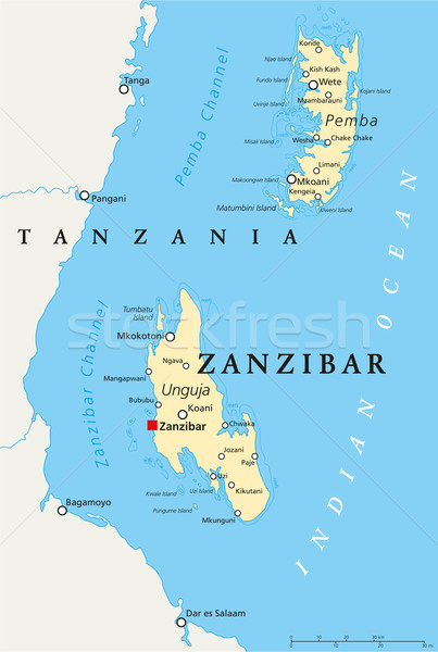 Zanzibar Political Map Stock photo © PeterHermesFurian