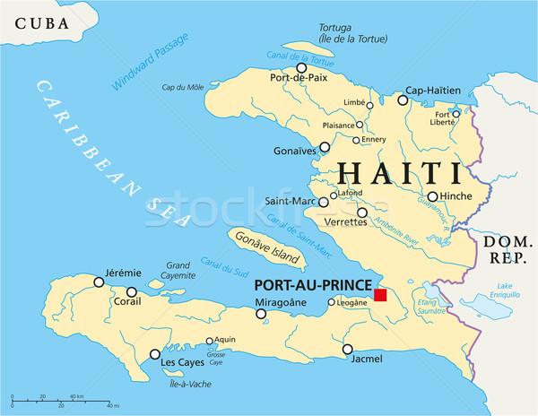 Haiti politikai térkép keretek fontos városok Stock fotó © PeterHermesFurian