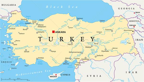 Turquia político mapa Ancara importante Foto stock © PeterHermesFurian