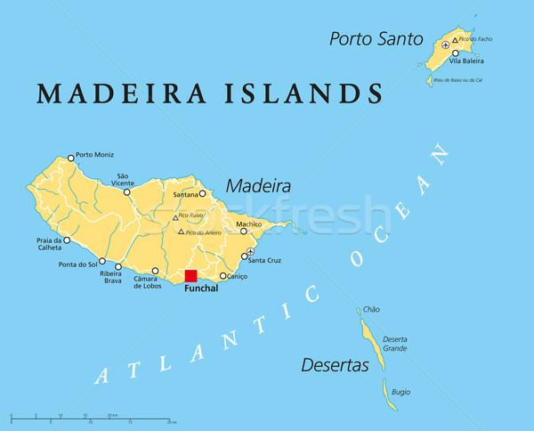 Madeira siyasi harita İngilizce Stok fotoğraf © PeterHermesFurian