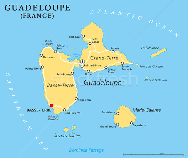 Guadeloupe Political Map Stock photo © PeterHermesFurian