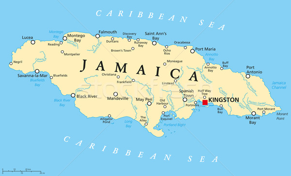 Jamaica politikai térkép fontos városok folyók Stock fotó © PeterHermesFurian