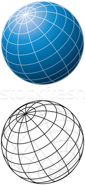 Blu sfera contorno versione bianco mondo Foto d'archivio © PeterHermesFurian