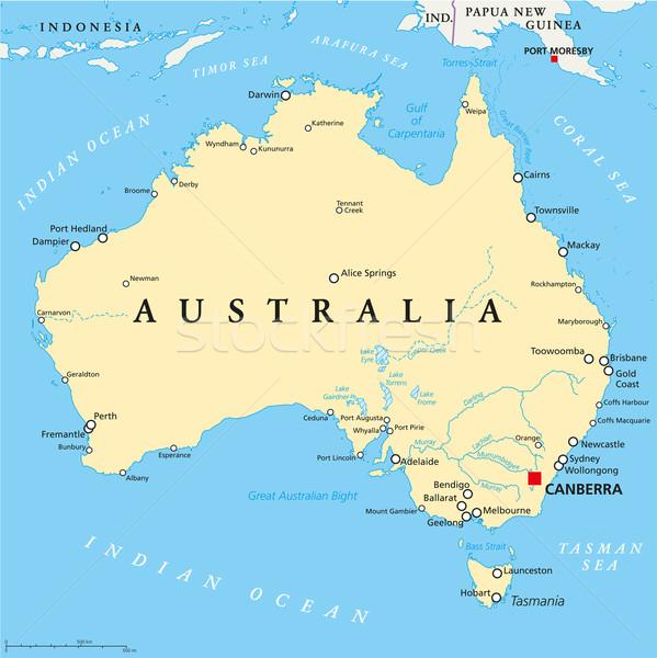 Австралия политический карта Канберра важный Сток-фото © PeterHermesFurian
