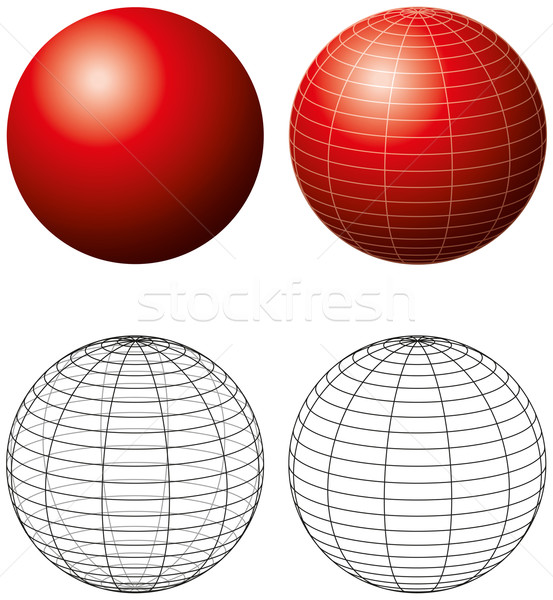 Red Sphere With Meridians Stock photo © PeterHermesFurian