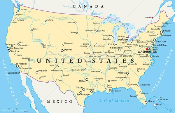 Соединенные Штаты Америки политический карта Вашингтон Сток-фото © PeterHermesFurian