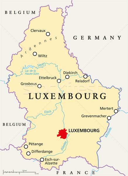 Luxemburg politikai térkép keretek fontos városok Stock fotó © PeterHermesFurian