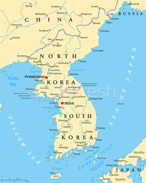Korean Peninsula Political Map Stock photo © PeterHermesFurian