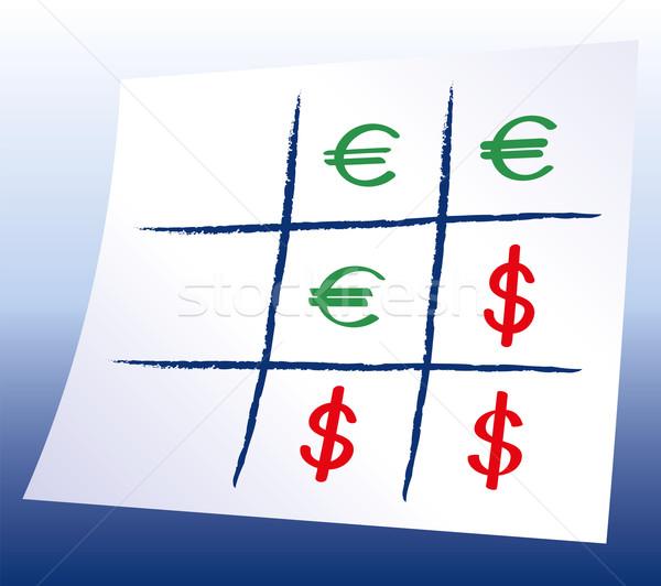 Euro dollár keresztek szimbólumok játék kék Stock fotó © PeterHermesFurian