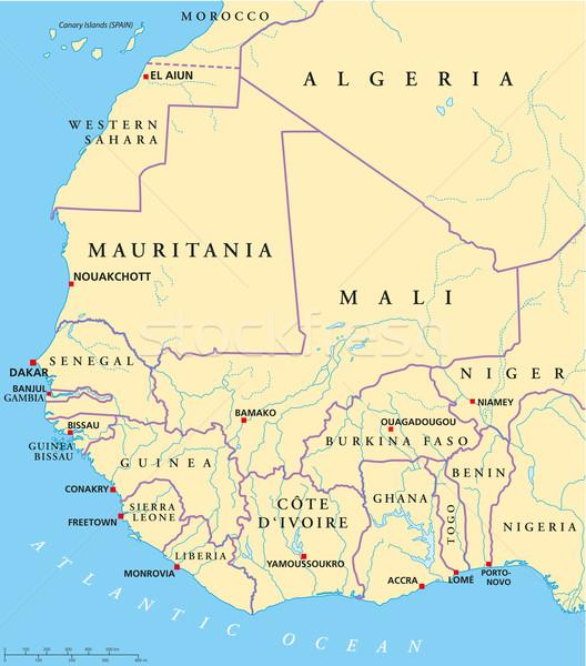 West Africa Map Stock photo © PeterHermesFurian