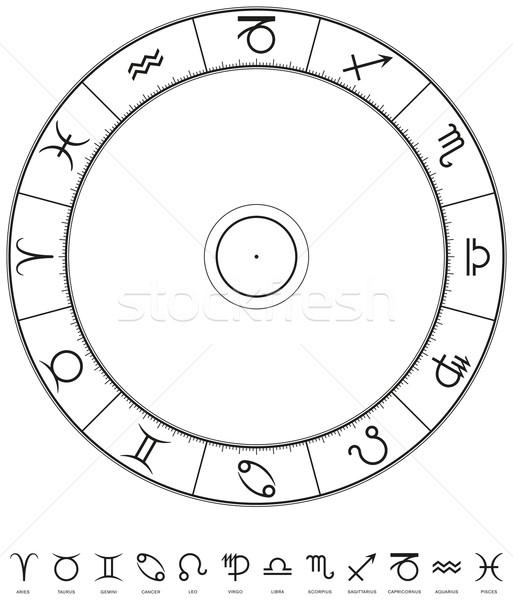 Foto d'archivio: Zodiaco · astrologia · illustrazione · cerchio · dodici · 30
