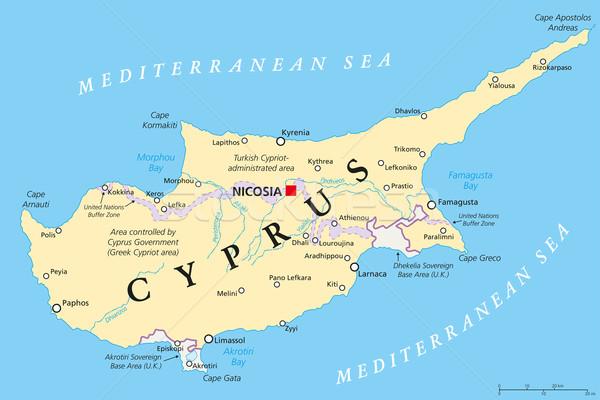 Кипр политический карта важный Сток-фото © PeterHermesFurian