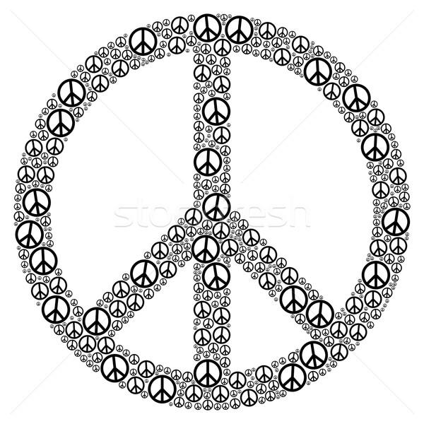 Béke felirat sok kicsi szimbólumok illusztráció Stock fotó © PeterHermesFurian