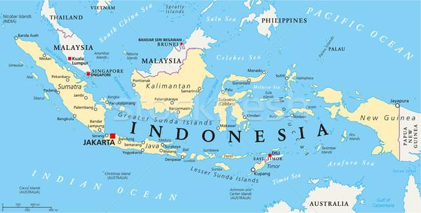 Endonezya siyasi harita Cakarta önemli Stok fotoğraf © PeterHermesFurian