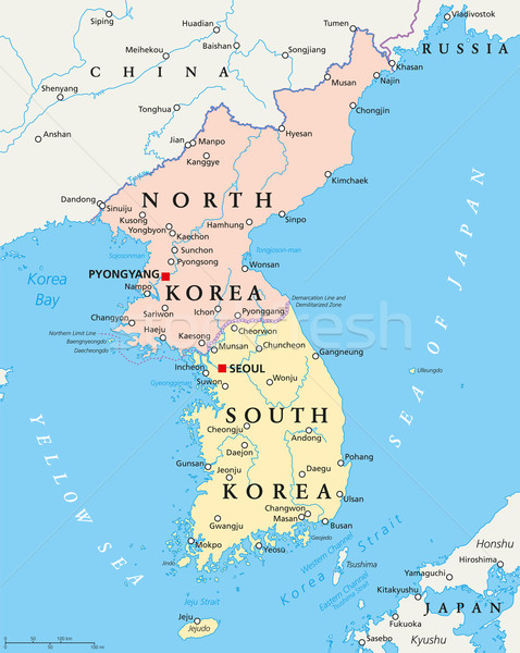 North Korea and South Korea Political Map Stock photo © PeterHermesFurian