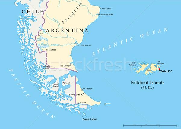 Falkland-szigetek politikai térkép dél-amerika keretek fontos Stock fotó © PeterHermesFurian