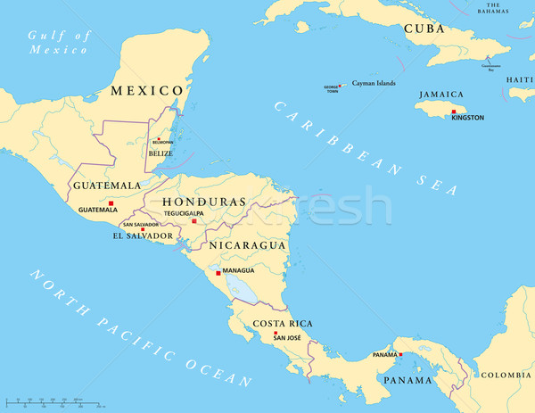 Central America Political Map Stock photo © PeterHermesFurian