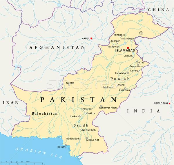 Pakistan siyasi harita önemli şehirler Stok fotoğraf © PeterHermesFurian