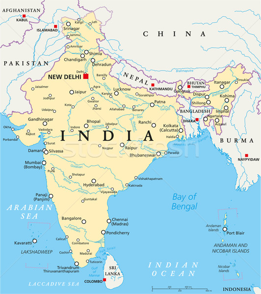 India Political Map Stock photo © PeterHermesFurian