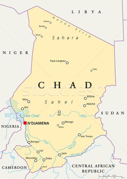 Tchad politique carte importante villes Photo stock © PeterHermesFurian