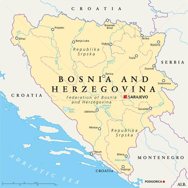 Bosznia és Hercegovina politikai térkép keretek fontos városok Stock fotó © PeterHermesFurian