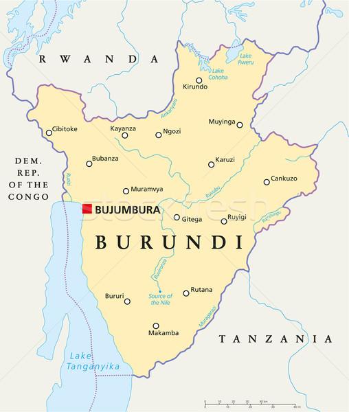 Foto stock: Burundi · político · mapa · importante · cidades