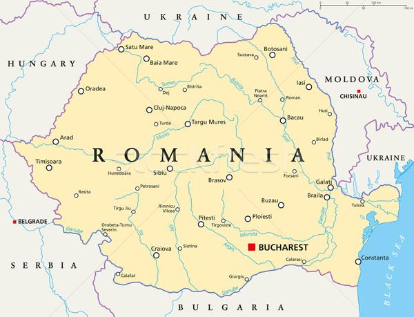 Romania politikai térkép Bukarest keretek fontos Stock fotó © PeterHermesFurian