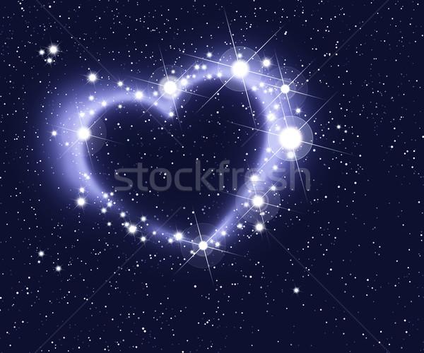 Gwiazdki formularza serca głęboko przestrzeń kosmiczna świetle Zdjęcia stock © PeterHermesFurian