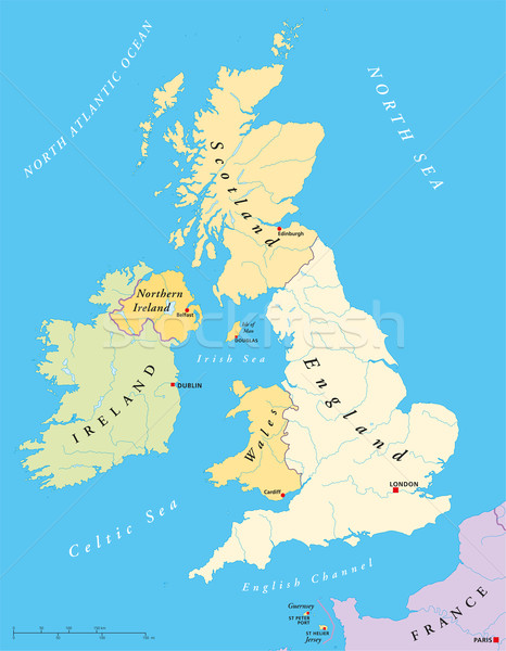 British Isles Map Stock photo © PeterHermesFurian