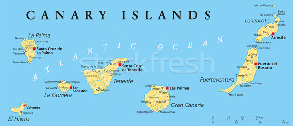 Canary Islands Political Map Stock photo © PeterHermesFurian