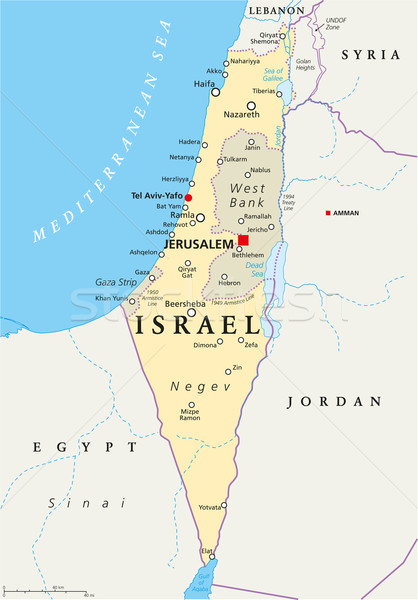 Izrael politikai térkép Jeruzsálem keretek fontos Stock fotó © PeterHermesFurian