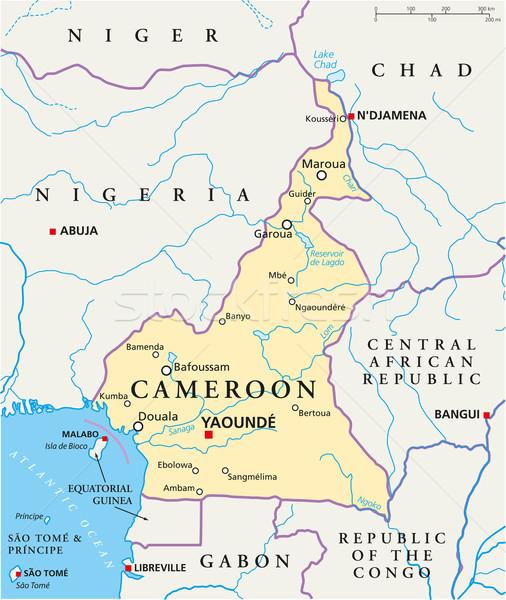 Kamerun polityczny Pokaż ważny miasta Zdjęcia stock © PeterHermesFurian