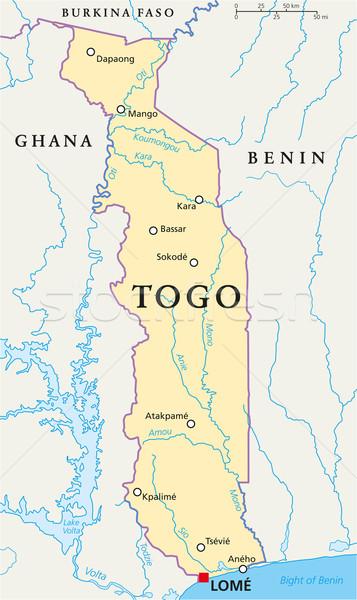 Togo politikai térkép keretek fontos városok Stock fotó © PeterHermesFurian