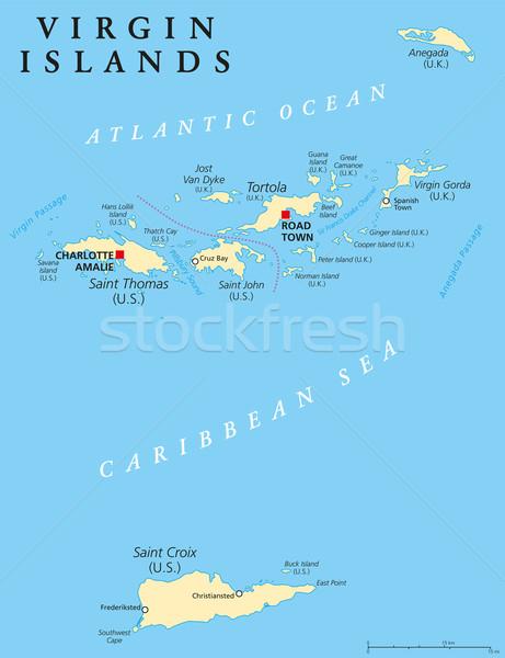 Virgin Islands politico mappa isola gruppo Caraibi Foto d'archivio © PeterHermesFurian