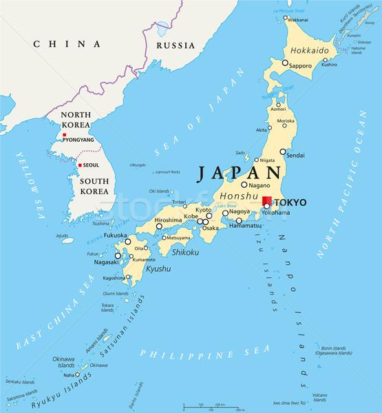 Japan Political Map Stock photo © PeterHermesFurian